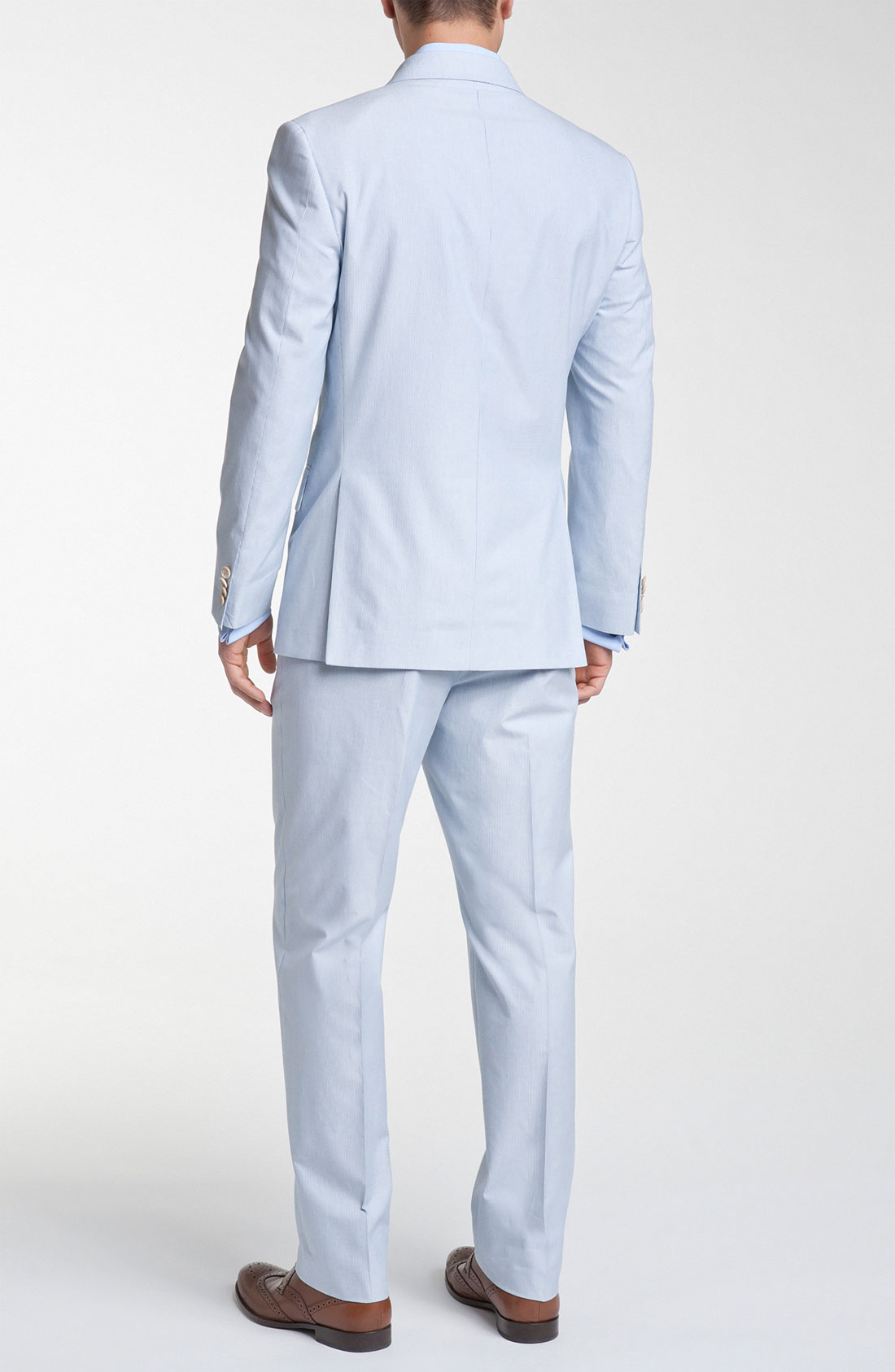 Joseph abboud Double Breasted Cotton Seersucker Suit in Blue for ...