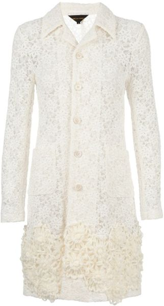Junya Watanabe Floral Lace Coat in White (floral)