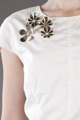 Lela Rose Flower Blouse in White - Lyst