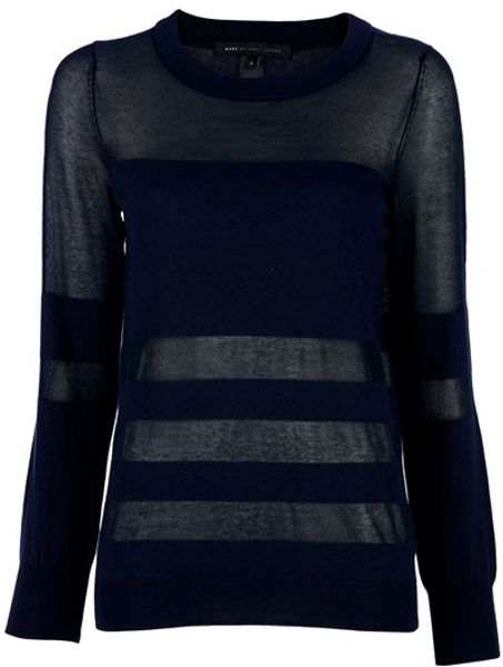 Marc By Marc Jacobs Sheer Panel Jumper in Blue (navy) - Lyst