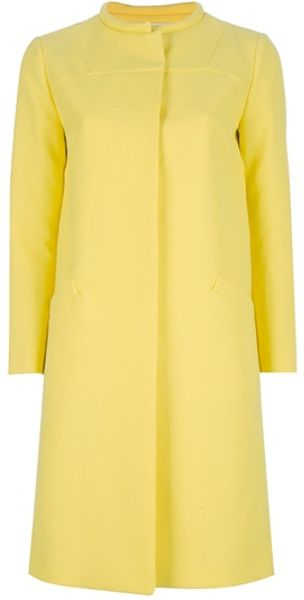 Marni Round Neck Coat in Yellow - Lyst