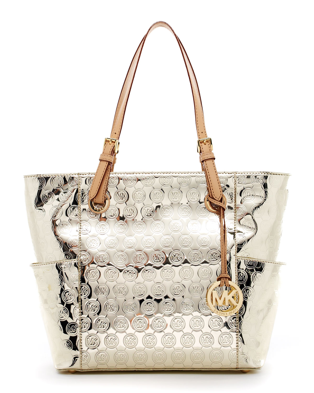 12b138c6f862 Michael Kors Jet Set Monogram Signature Item Tote Pale Gold in ...