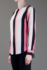 Msgm Long Sleeve Blouse in Pink - Lyst