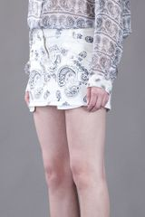 Pierre Balmain Printed Denim Skirt in White (denim) - Lyst