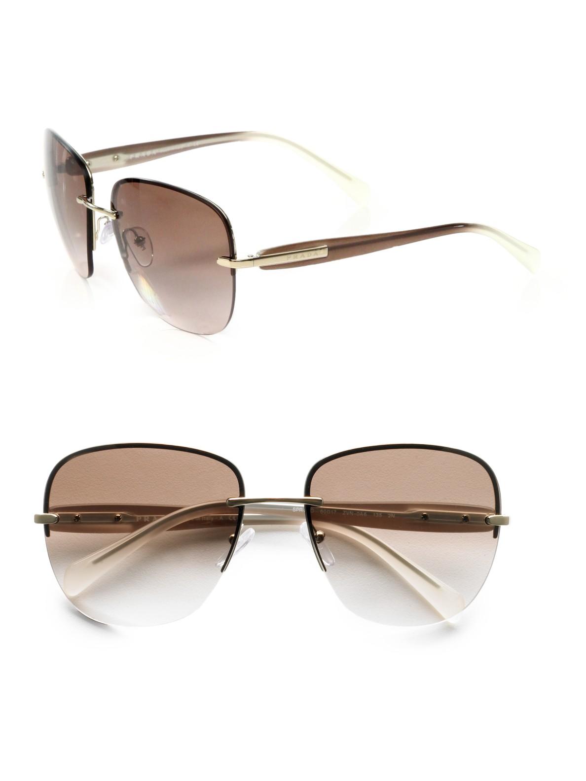 3609ba8a3be ... shop lyst prada square rimless sunglasses in brown 8b34f 454df