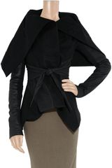 Rick Owens Woolblend Felt and Leather Jacket in Black - Lyst