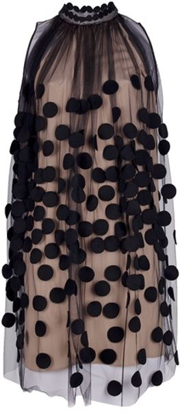 Stella Mccartney Dotted Gauze Dress in Black - Lyst