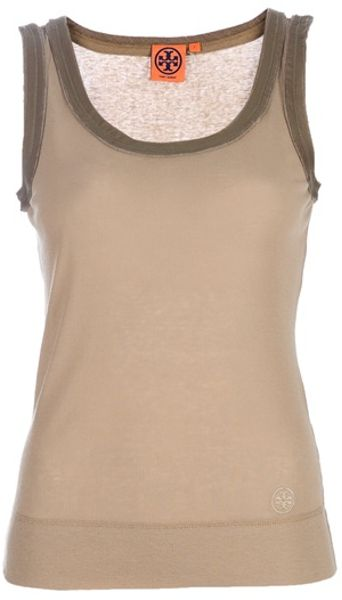 Tory Burch Vest Top in Beige - Lyst