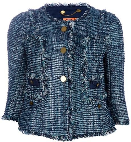 Tory Burch Textured Jacket in Blue - Lyst