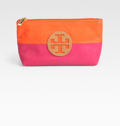 Tory Burch Small Canvas Leather Cosmetic Case in Orange (fuchsia) - Lyst