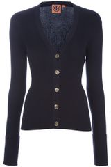 Tory Burch Fitted Ribbed Cardigan - Lyst