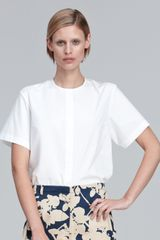 3.1 Phillip Lim Collarless Poplin Blouse - Lyst
