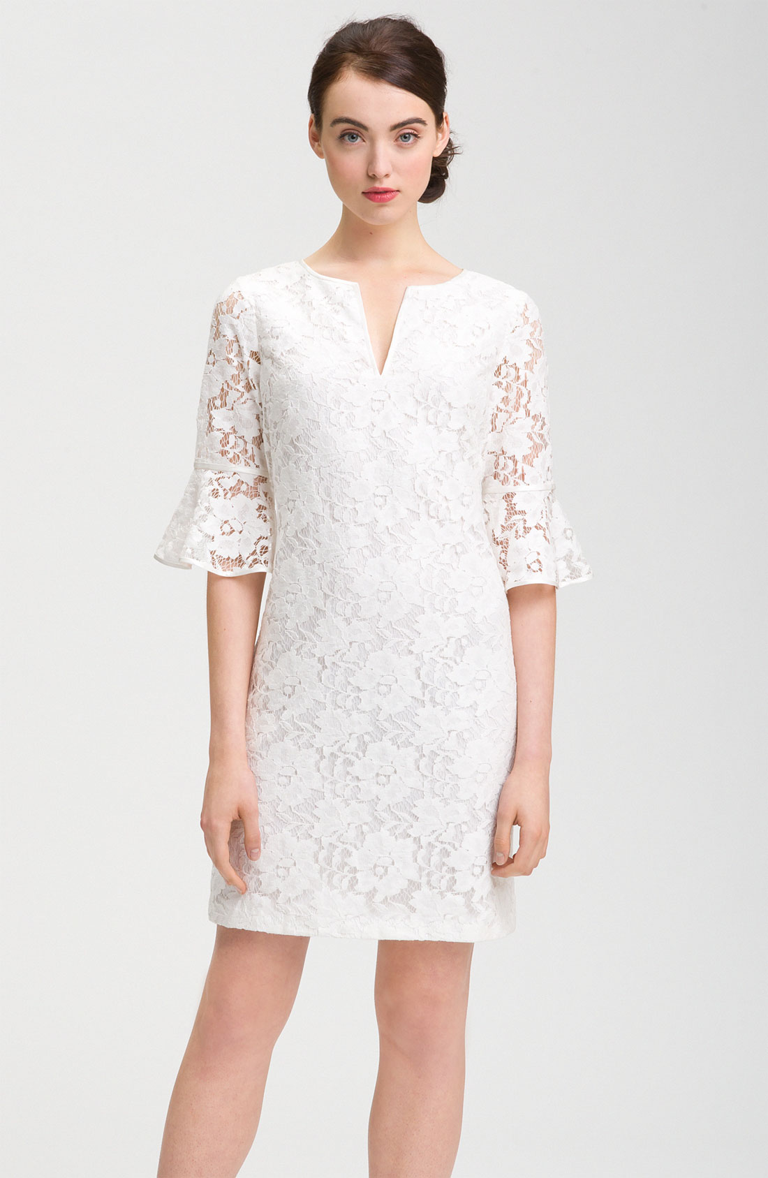 Adrianna Papell Ruffle Sleeve Lace Dress in White   Lyst