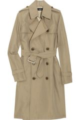 A.p.c. Doublebreasted Gabardine Trench Coat in Beige - Lyst