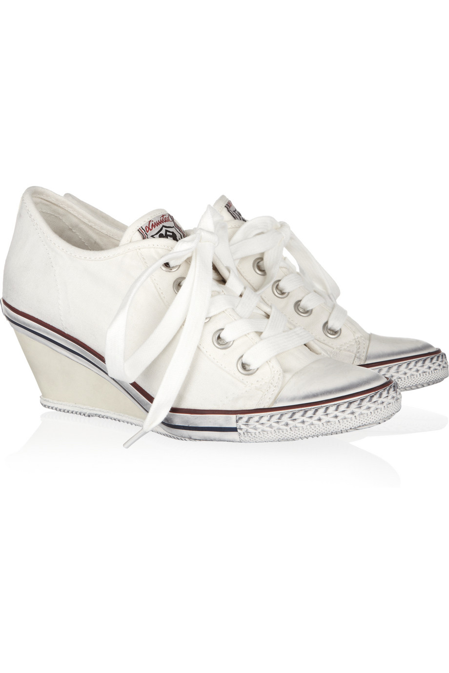 Ash Ginger Canvas Wedge Sneakers in White | Lyst