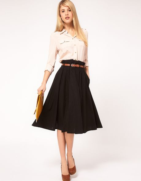 Asos Collection Asos Linen Midi Skirt with Belt in Black - Lyst