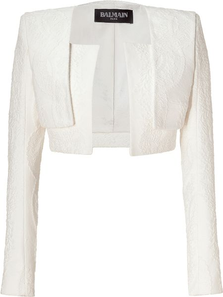 Balmain  Cropped Cotton Blend Jacket in White - Lyst