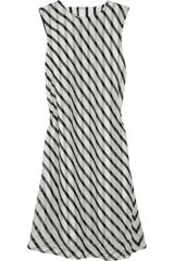 Black Fleece Striped Silk Voile Dress - Lyst