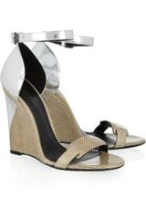 Bottega Veneta Karung and Metallic Leather Sandals in Brown - Lyst