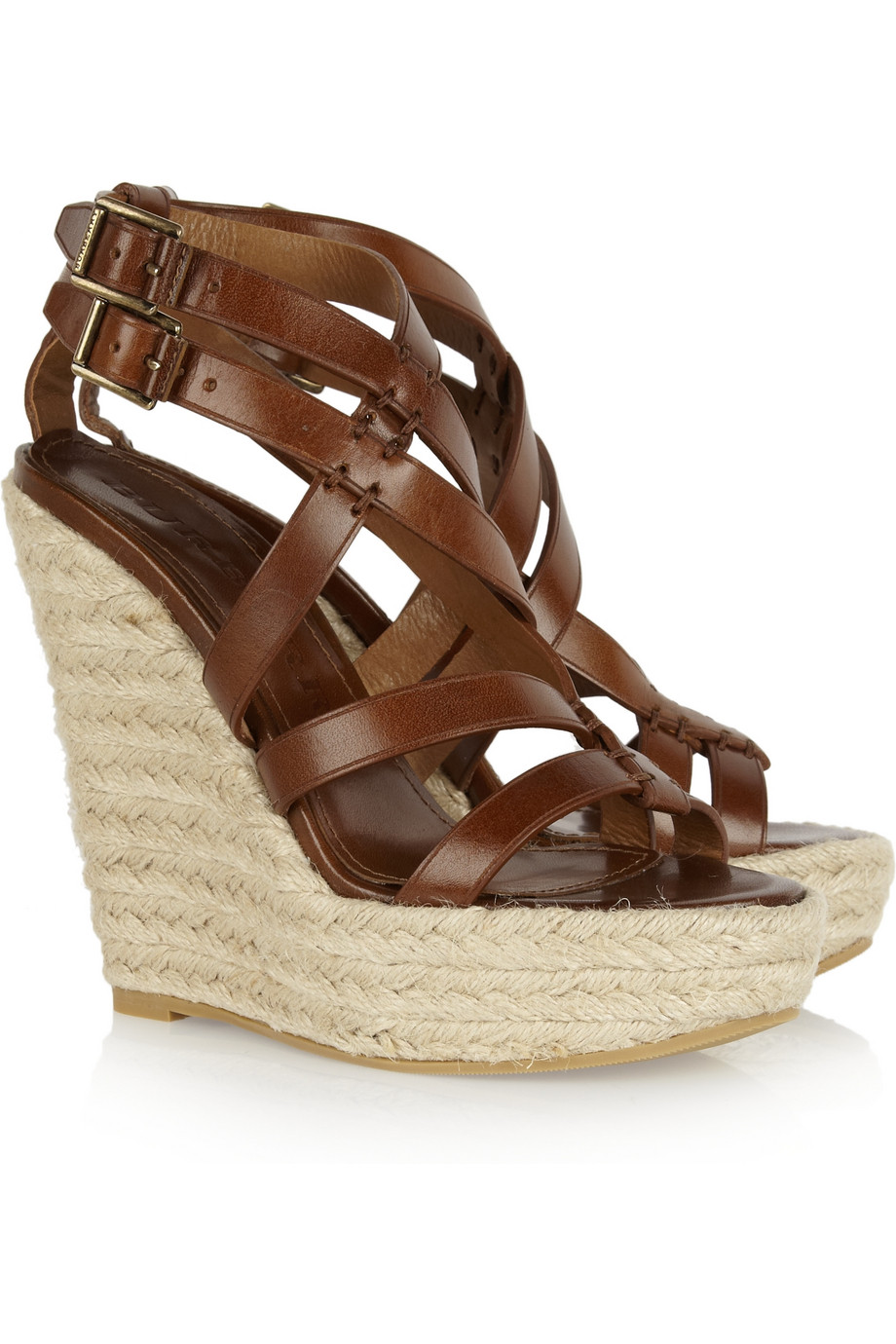burberry leather and rope wedge sandals in brown lyst