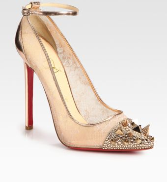 Christian Louboutin Picks Co Crystal Stud Embellished  Leather Pumps - Lyst