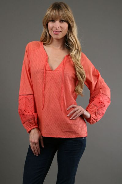 Dallin Chase Cezanne Full Sleeve Top in Melon 45 Off in Red - Lyst