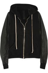 DRKSHDW by Rick Owens Hooded Cotton and Leather Top - Lyst