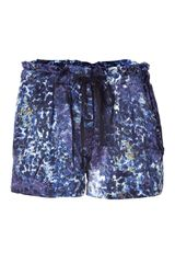 Edun Indigo Glass Print Pleated Silk Shorts in Blue (indigo) - Lyst