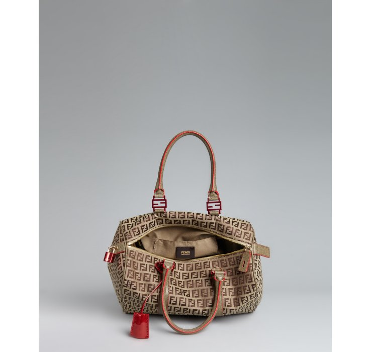259a99b32a Fendi Beige Zucchino Canvas Leather Trimmed Small Forever Bag in ...