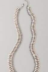 House Of Harlow Bar Necklace White Gold in White (silver) - Lyst