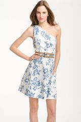 Jessica Simpson One Shoulder Printed Cotton Dress - Lyst