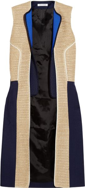 J.w. Anderson Raffiatrimmed Woolcrepe Sleeveless Jacket in Blue (navy) - Lyst