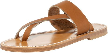 K. Jacques Crisscross Flat Thong Sandal in Brown (natural) - Lyst