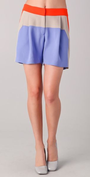 Lela Rose Colorblock Shorts in Purple (blue) - Lyst