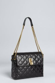 Marc Jacobs Black Quilted Leather Sandy Lock Front Shoulder Bag - Lyst