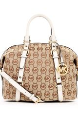 Michael Kors Medium Bedford Monogram Satchel Beigeebonyvanilla Monogram in Brown (beige) - Lyst