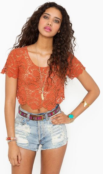 Nasty Gal Crochet Crop Top Rust - Lyst