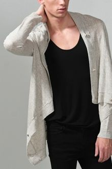 Oak Platinum Linen Square Collar Cardigan - Lyst