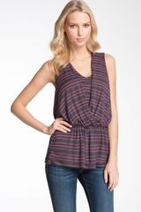 Olivia Moon Sleeveless Stripe Peplum Top - Lyst