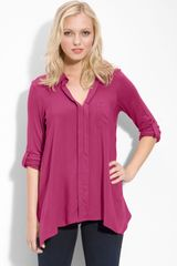 Pleione Split Neck Roll Sleeve Mixed Media Top in Pink (pink fuchsia) - Lyst