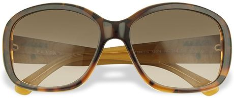 Prada Signature Temple Plastic Sunglasses in Brown - Lyst
