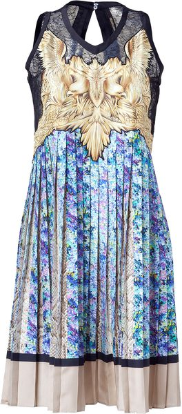 Roberto Cavalli Blue and Cream Printed Plissee Pleated Silk Dress - Lyst