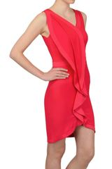 Space Ruched Crepe Cady Dress in Red (coral) - Lyst