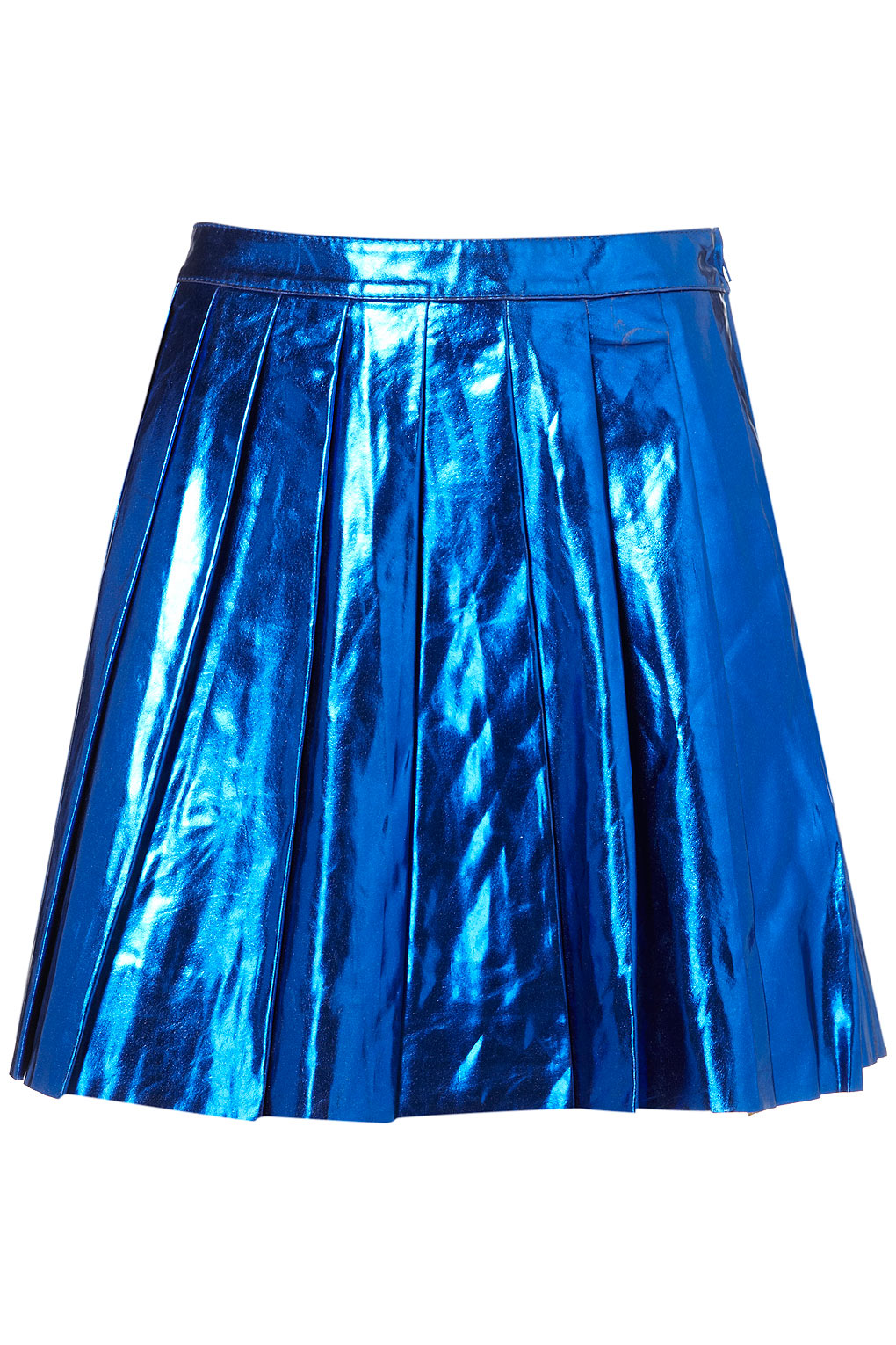 topshop metallic pleated skirt in blue lyst