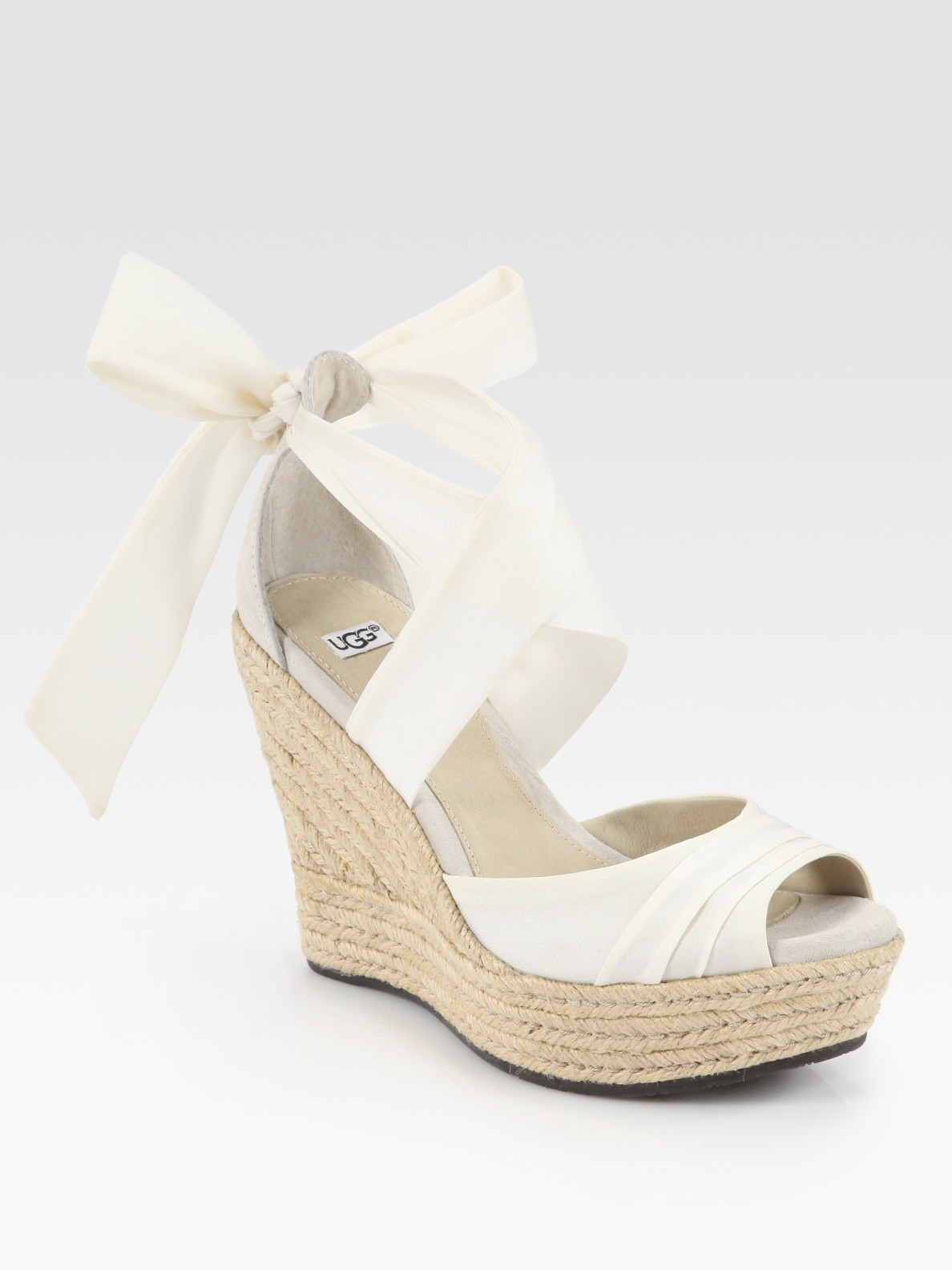 ugg lucianna tieup silk and suede espadrille wedge sandals