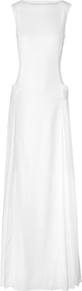 Victoria Beckham Pleat Detailed Stretch Crepe Gown in White - Lyst