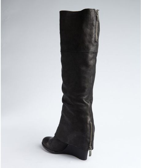 vince camuto black leather abril boots in black lyst
