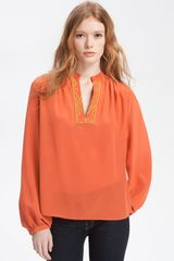 Winter Kate Anjall Embroidered Placket Silk Blouse - Lyst