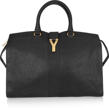 Yves Saint Laurent Cabas Chyc Large Leather Tote in Black - Lyst