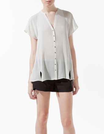 Zara V-Neck Blouse - Lyst